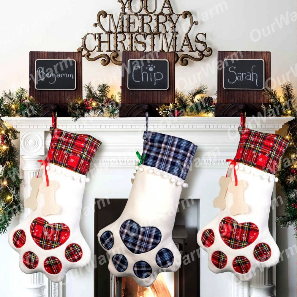 Ourwarm rustic christmas stocking holders new year 2019 diy wood chalkboard stocking hanger for mantel christmas decoration in stockings gift holders from