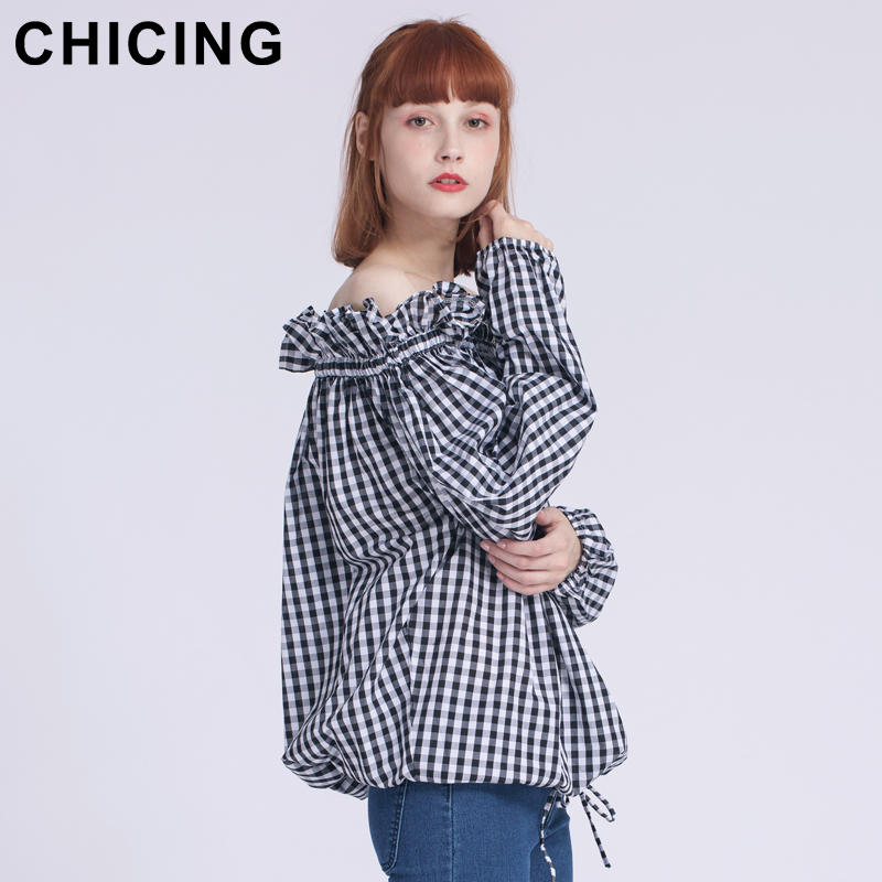 ef74b9099331af CHICING Women Fashion Vintage Ruffles Off Shoulder Lantern Sleeves Plaid Shirt  2018 Ladies New Retro Elastic Blouse Top A1702022-in Blouses   Shirts from  ...