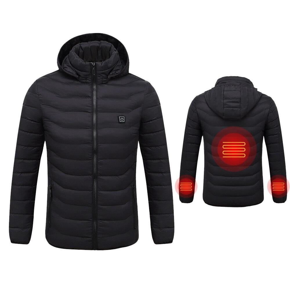 Winter Warm Heating Jackets Men Women Smart Thermostat Hooded Heated Clothing Waterproof Woman Heating Hooded Down