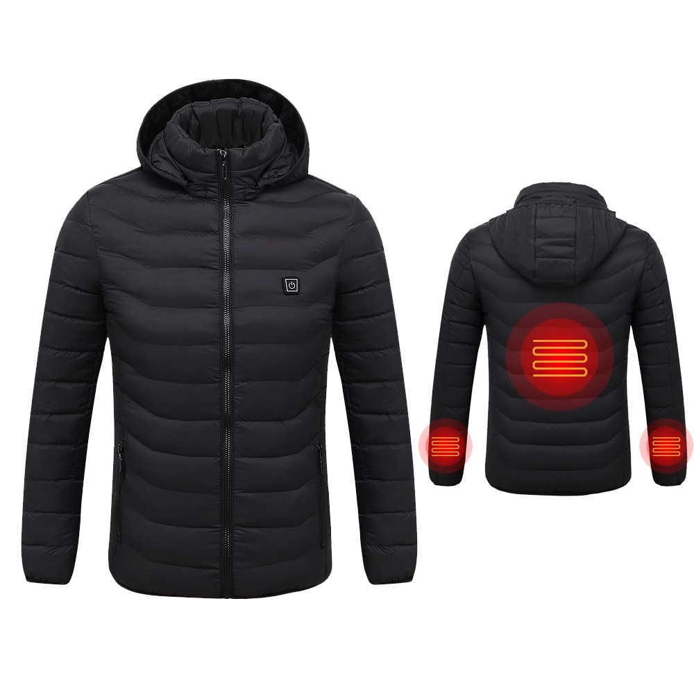 Зимняя теплая куртка с подогревом для мужчин и женщин, умный термостат с капюшоном, одежда с подогревом, водостойкая Женская куртка с капюшоном