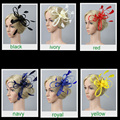Wholesale 3pcs Multicolors Feather Satin Fascinator Hair Clip Cocktail Hat Hairpin for Wedding Party Dress Hair Decoration New