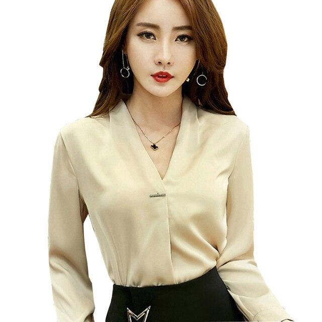 4182b72b8 Elegante señora v-cuello seda blanco blusas tamaño S-2XL manga larga moda  Otoño