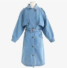 2015 Spring Autumn Korean new loose plus size long lace slim thin fashion casual denim trench coat Women jean outerwear D4060