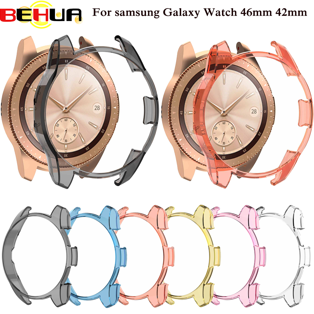 Gear S3 Frontier Case For Samsung Galaxy Watch 46mm 42mm Band Strap Cover Soft TPU Plated All-Around Protective Case Shell Frame