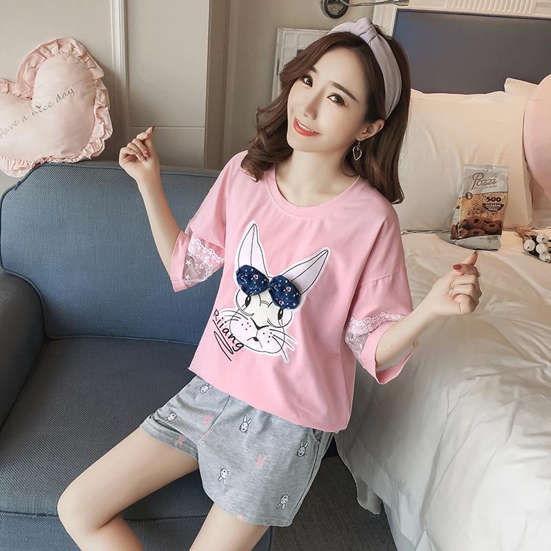 Cotton Pajamas for Women summer Pijama Mujer 2 Piece Lingerie Set Women Pyjamas Plus Size Underwear Sleepwear in Pajama Sets from Underwear Sleepwears