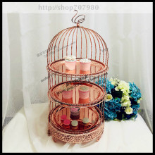 1 PCS European three-layer rose gold bird cage snack stand multi-layer dessert rack metal West point set
