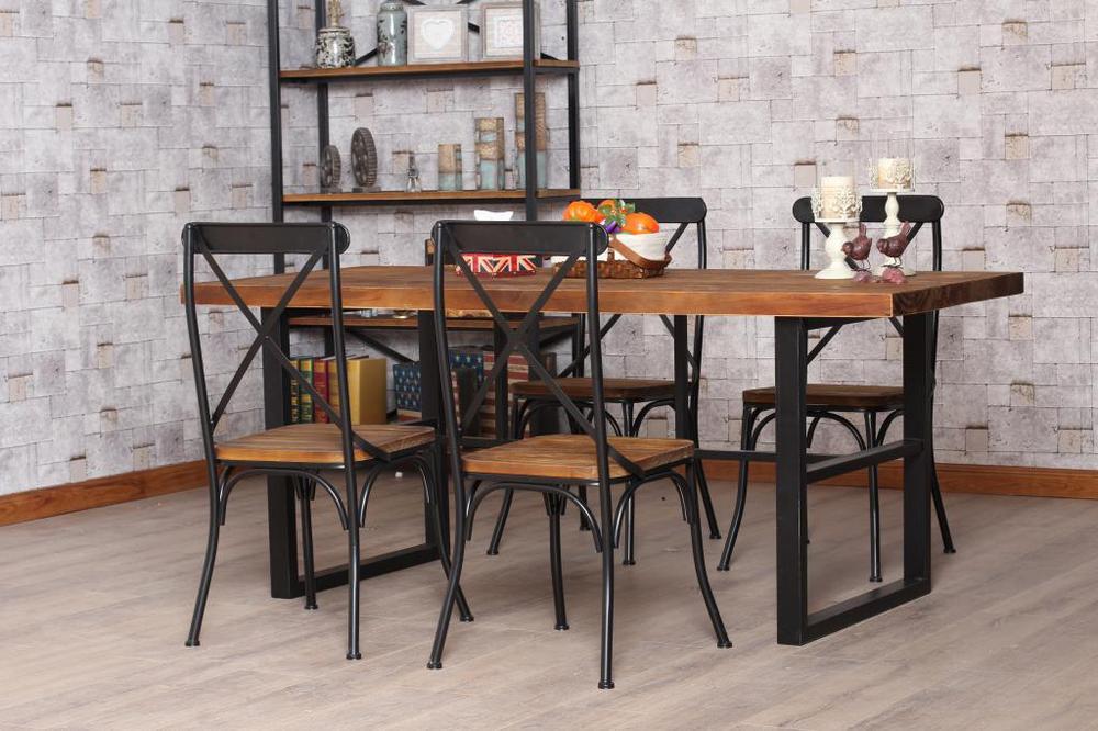 americana comedor retro combinación de madera, hierro forjado mesa