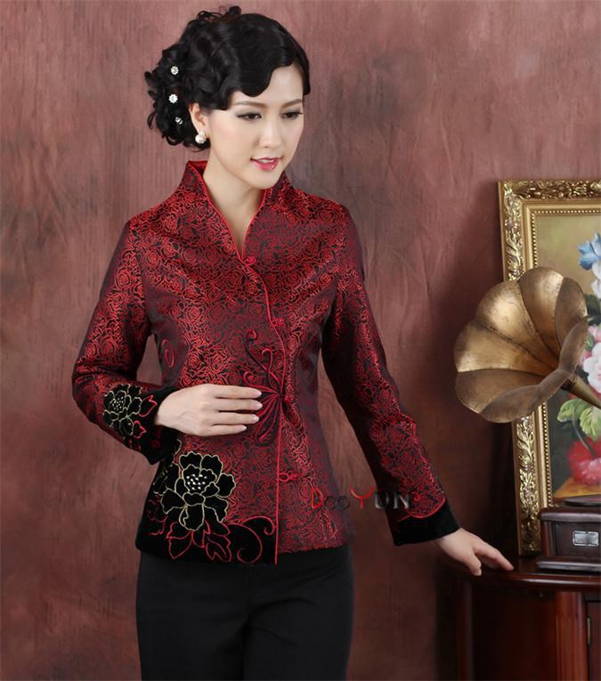 En Rouge Vêtements Survêtement Costume Satin Femmes Accessoires De Et M Veste Traditionnels Soie Tops Tang 3xl Chinois CdorxBe