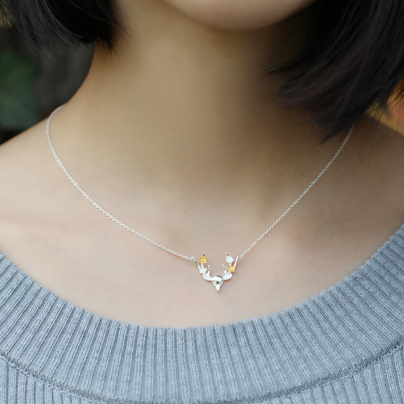 Hot Sale Silver Necklace Flower Deer Pendant Necklace Christmas 925 Sterling Jewelry Gift wholesale
