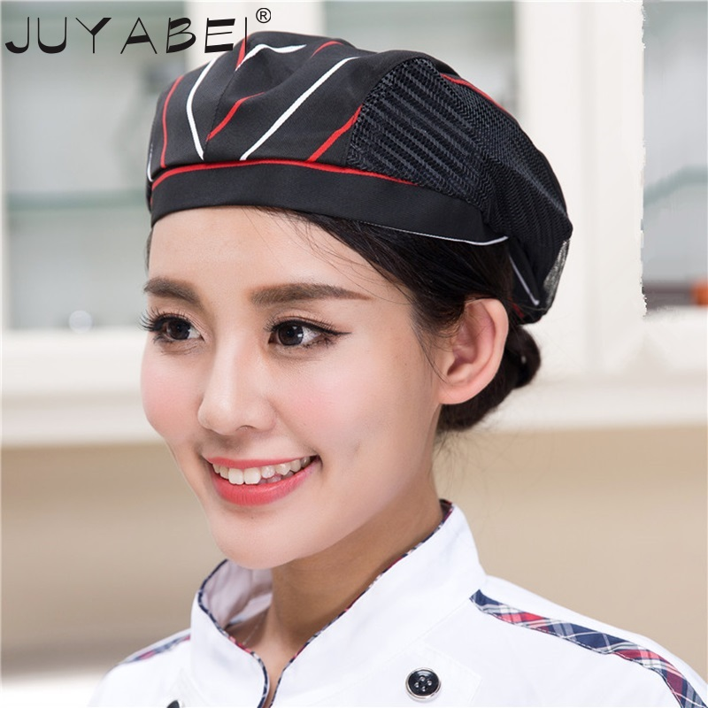 Chef Hats Cafe Bar Waiter Beret Restaurant Hotel Work Wear Kitchen Cook Baking Cap Men Women Working Cap Breathable Mesh 56-58cm