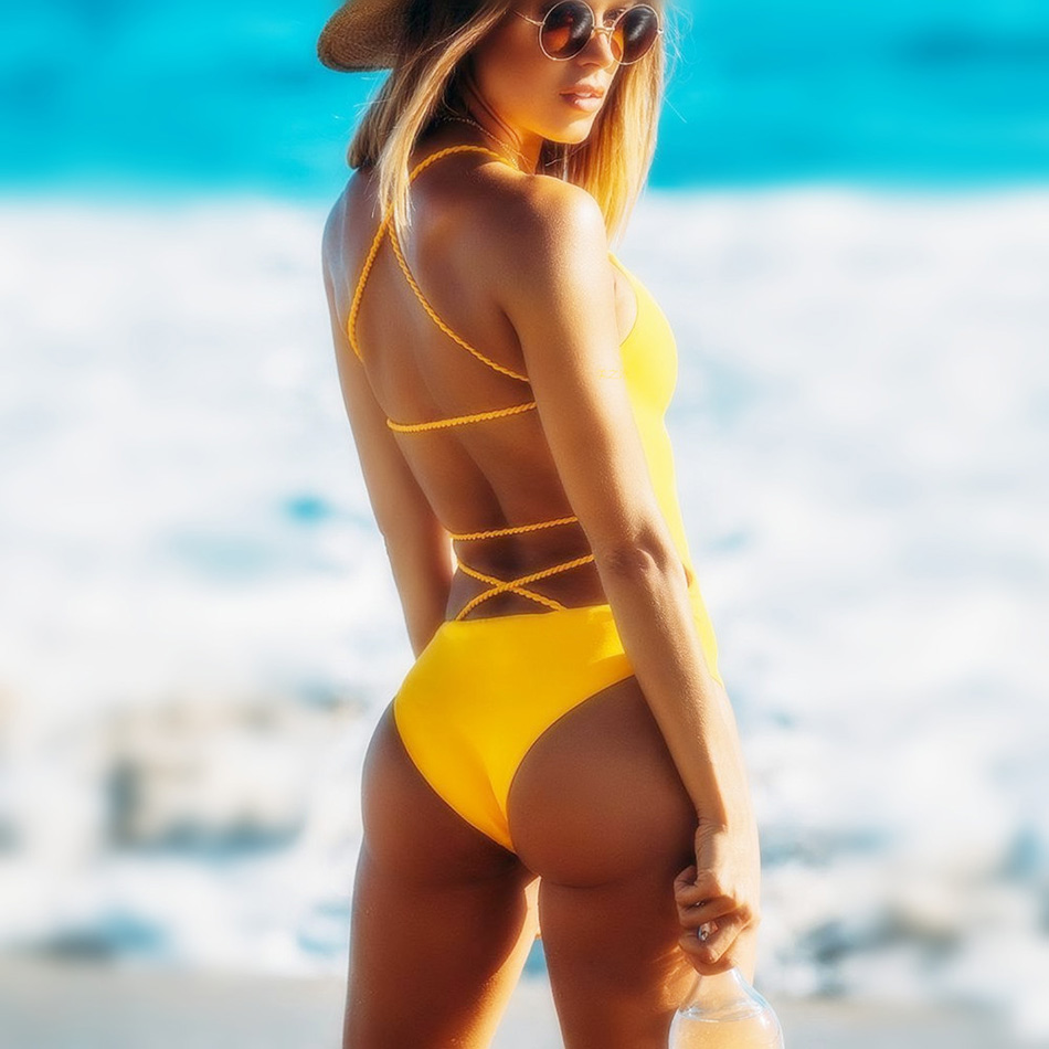 купить 2018 Sexy Black One Piece Swimsuit Bandage One Piece Swimwear Women Push Up Monokini Yellow Beach Bathing Suit XL Swimming Suits недорого