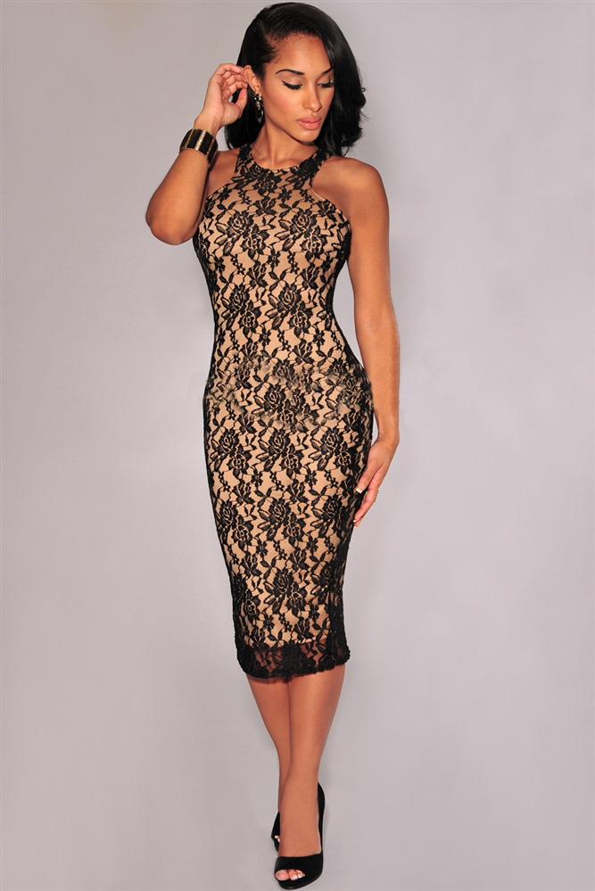 Sleeveless Lace O-neck Bodycon Dress