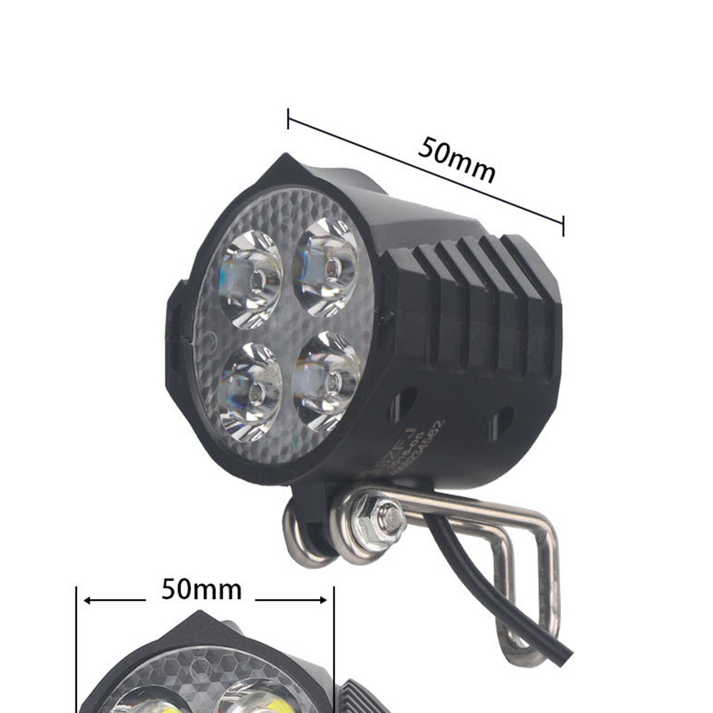 Electric Bicycle Led Headlight 12w 36v 48v 72v 80v Waterproof E Bike Front Light Flashlight 4 Led Lights With Horn For Ebike