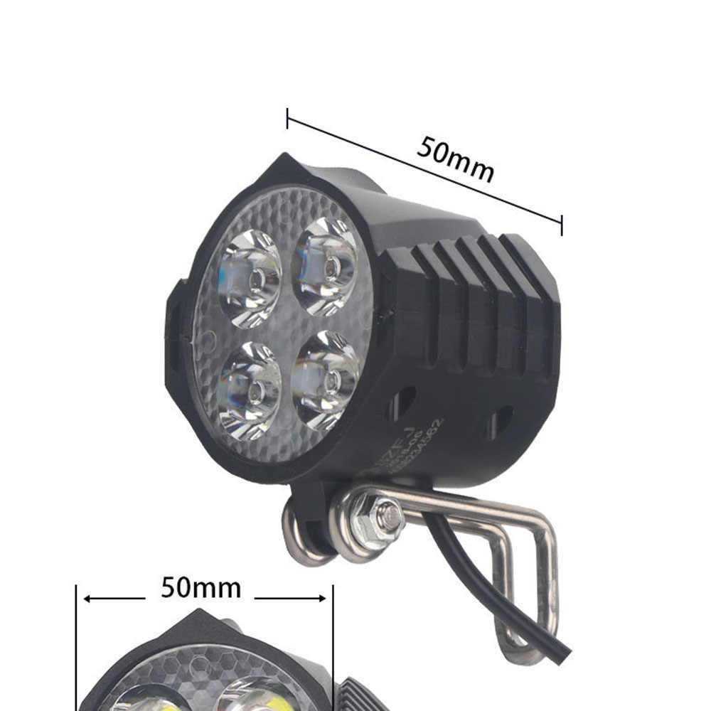 Electric Bicycle LED Headlight 12W 36V 48V 72V 80V Waterproof E Bike Front Light Flashlight 4-LED Lights with Horn for Ebike