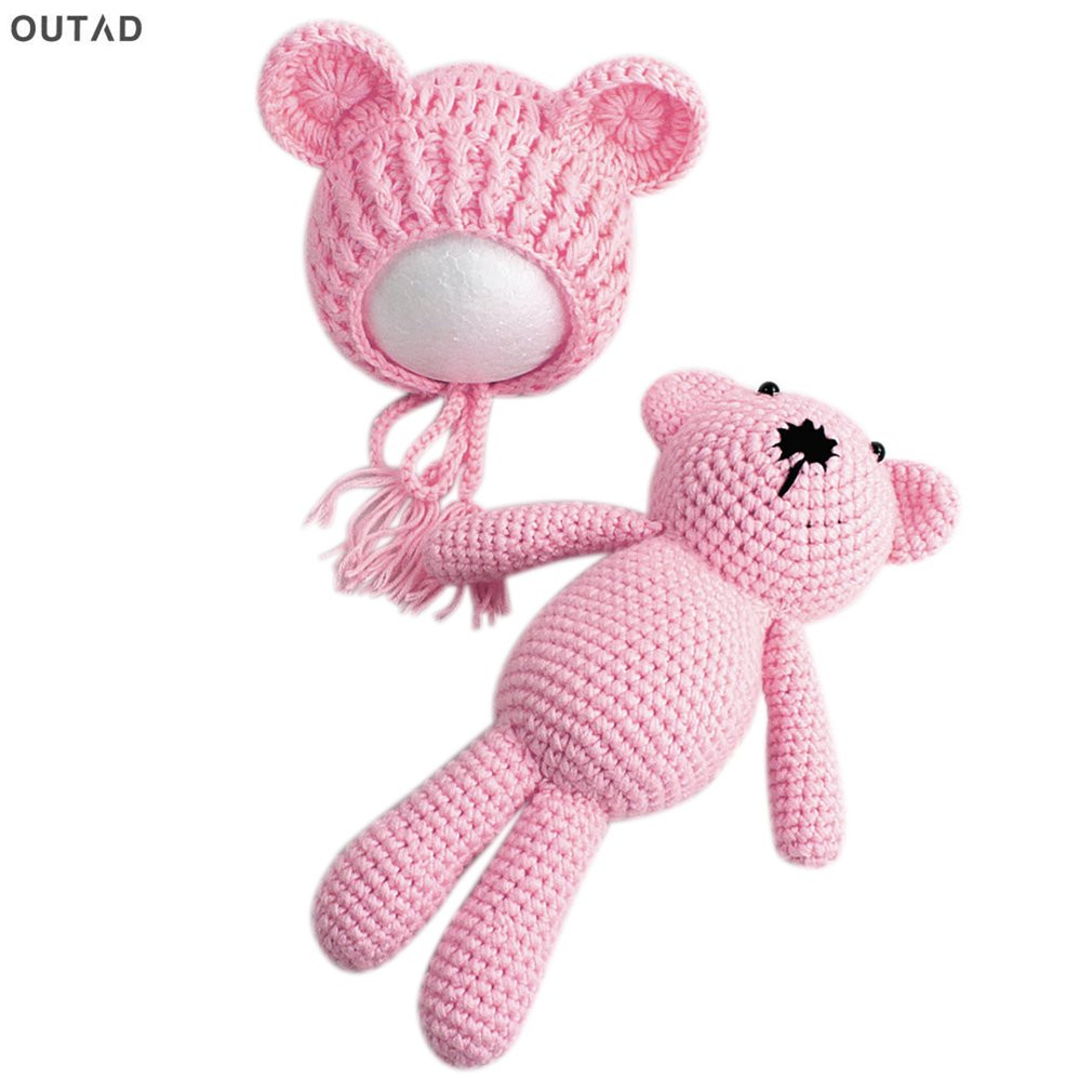 Newborn Photography Props Accessories Baby Beanies Hat+ Bear Doll Toy Set Baby Girl Boy Knitting Crochet Outfit Clothes Costume