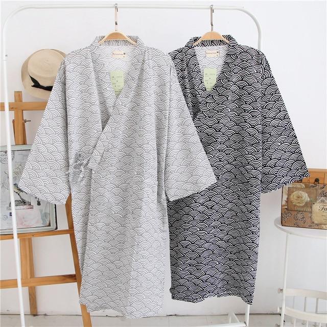 Homens Roupão de Banho Quimono japonês Yukata Robe de Manga Comprida de  Algodão Outono Primavera Casal 4e7fc336f