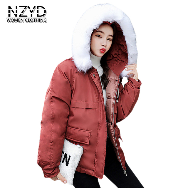 c9bf0b417c92 2018 Women Winter Cotton Jacket New Style Fashion Hooded Fur collar ...