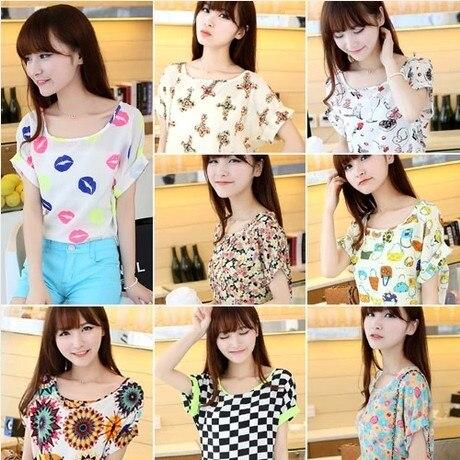 2014 short-sleeve t-shirt women's chiffon shirt summer short-sleeve loose thin women's basic shirt