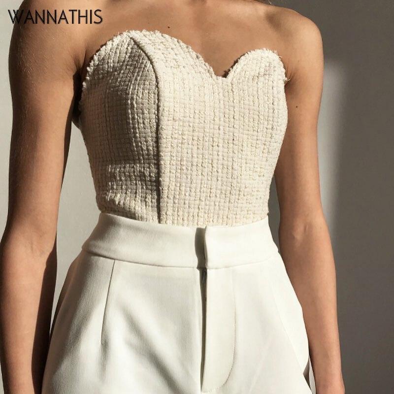 WannaThis Summer Sleeveless Tube Tops Camis Tanks Crop Top Slash Neck Low Chest Vest Women Fashion New