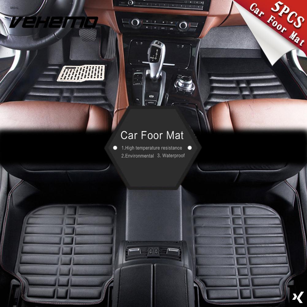 5 pièces tapis de sol noir tapis de sol de voiture tapis de sol conducteur tapis de conduite universel imperméable Auto tapis