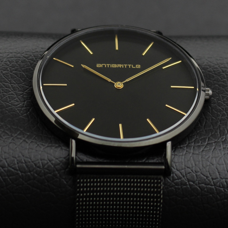 Quartz Luxury Brand Men Watch Klockor Ultra Thin Black Leather - Damklockor