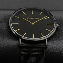 Quartz Luxury Brand Men Watch Klockor Ultra Thin Black Leather Rostfritt Stål Mesh Magnet Rem Guld Hand Vattentät Antibrittle
