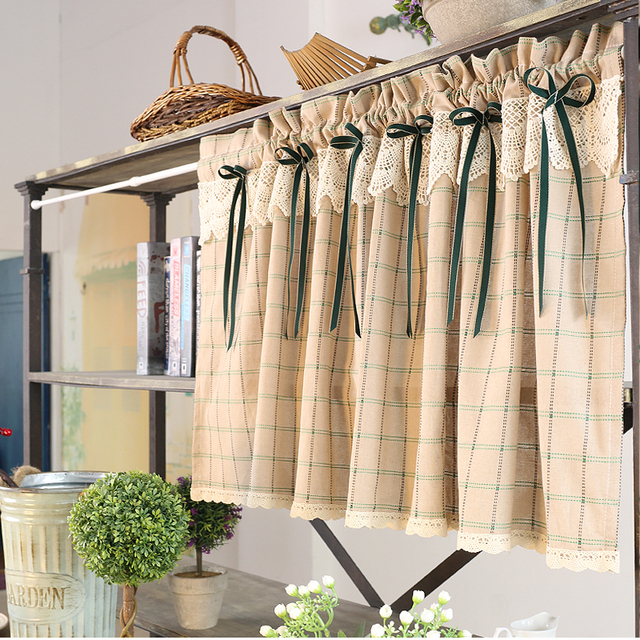 Attrayant Free Shipping Pastoral Cotton Plaid Cute Elegant Lace Ribbon Coffee Curtain Kitchen  Curtains For Living Room