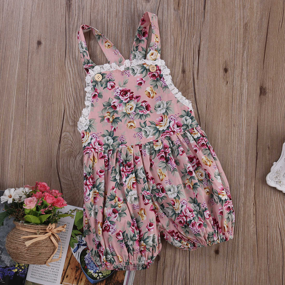 2b3f4d21e ... New Infant Kids Rompers Toddler Baby Girls Strap Flower Casual Cute  Backless Jumper Romper Jumpsuit Summer ...