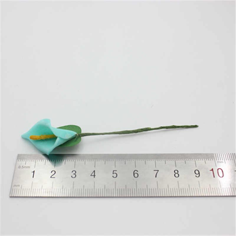 شحن مجاني 2.0 سنتيمتر رئيس متعدد الألوان اليدوية رغوة البولي ايثيلين كالا زهرة الزنبق باقة سكرابوكينغ زهور زنبق صناعية 12 قطعة/الوحدة