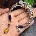 Prata brilhando prata pura cera de abelha natural pérola pulseiras pulseiras finas jóias de prata para as mulheres pulseira