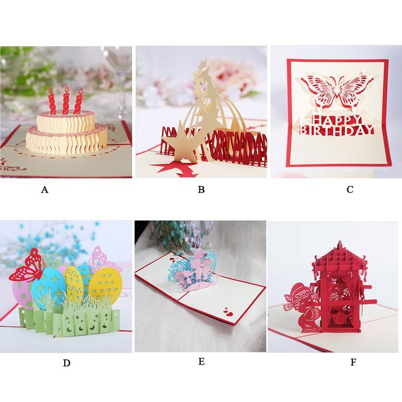 6 styles handmade 3d pop up greeting card handmade happy