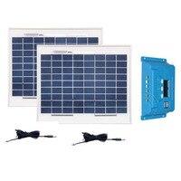 Waterproof Kit Solar Panels For Home 20w Solar Modul 12v 10w 2PCs Solar Charge Controller 12v/24v 10A Caravan Car Light LED
