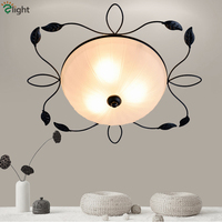 2016 Europe Patoral Petal Iron Dia 45cm Round E27 Ceiling Light Frosted Glass Shades Simple Led