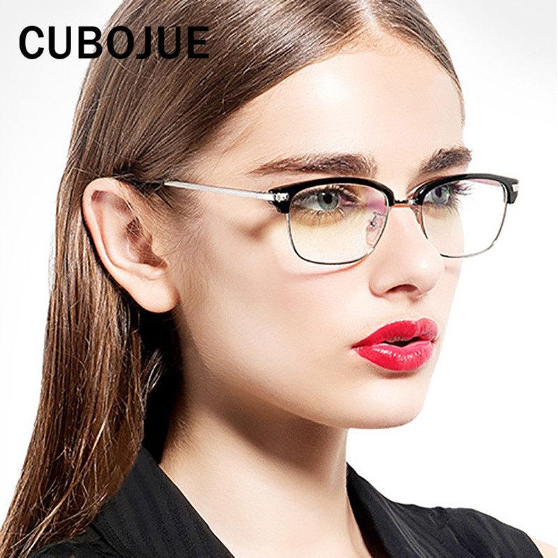 0234aa964d7b3 Cubojue Grade Pequena Praça Mulheres Óculos de Armação Quadro Feminino  Pontos Metade Aro Prescrição Óculos Caso