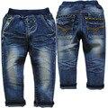 3785 2-3 лет ребенок джинсы брюки повседневные джинсы для детей мальчиков девушки прямые твердые Темно-Синий не выцветают мальчиков джинсы брюки
