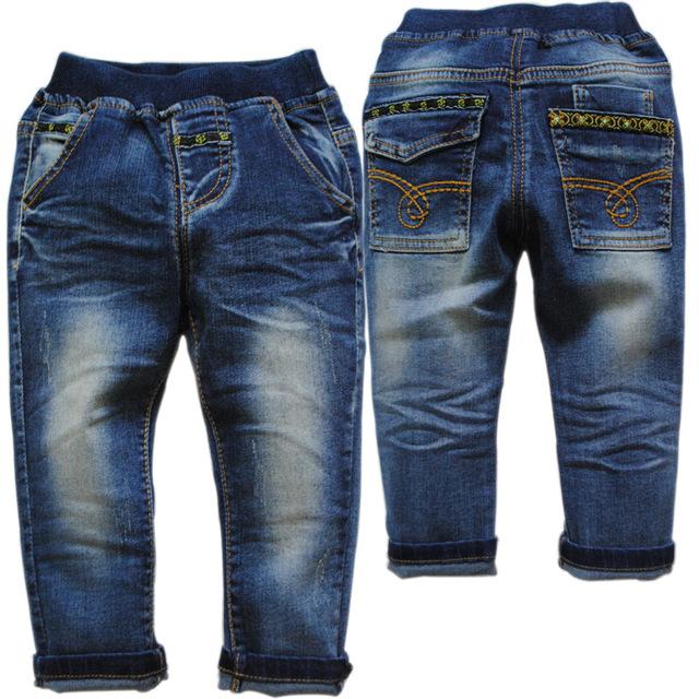 3785 2-3 anos calças de brim do bebê calças jeans casual crianças meninos meninas Azul Marinho sólida reta não desaparecer do bebê meninos calças de brim