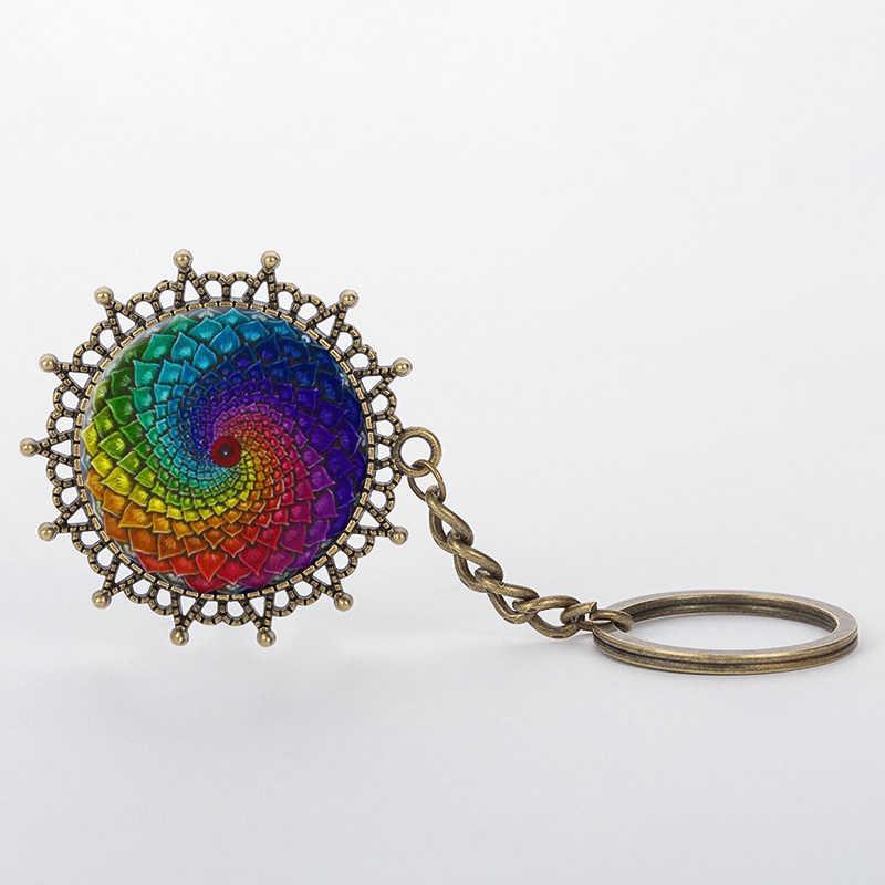 SUTEYI Nail Retro Floral Tattoo Nghệ Thuật Đầy Màu Sắc Mandala Mặt Dây Chuyền Móc Chìa Khóa Mandala Mái Vòm Kính Cổ Điển Keychain Món Quà của Phụ Nữ Đồ Trang Sức