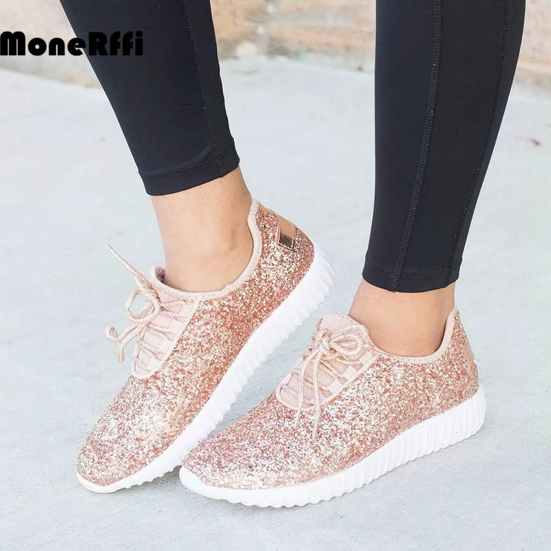 MoneRffi Women Glitter Bling Gold Silver Shoes Sneakers Sparkly Casual Lace Up Walking Metallic Sequins LightWeight Jogger Shoes