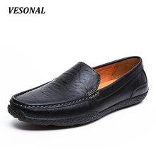 VESONAL 2017 de Lujo Del Verano de Conducción Pisos Holgazanes de los Hombres de Cuero Genuino Transpirable Zapatos de Moda Casual Resbalón En Tamaño 38-44 V1602