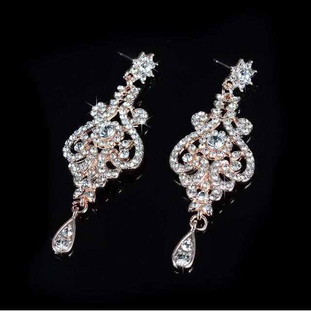 Rosa color oro set di gioielli da sposa cz cristallo austriaco della collana set gioielli di lusso femme D020