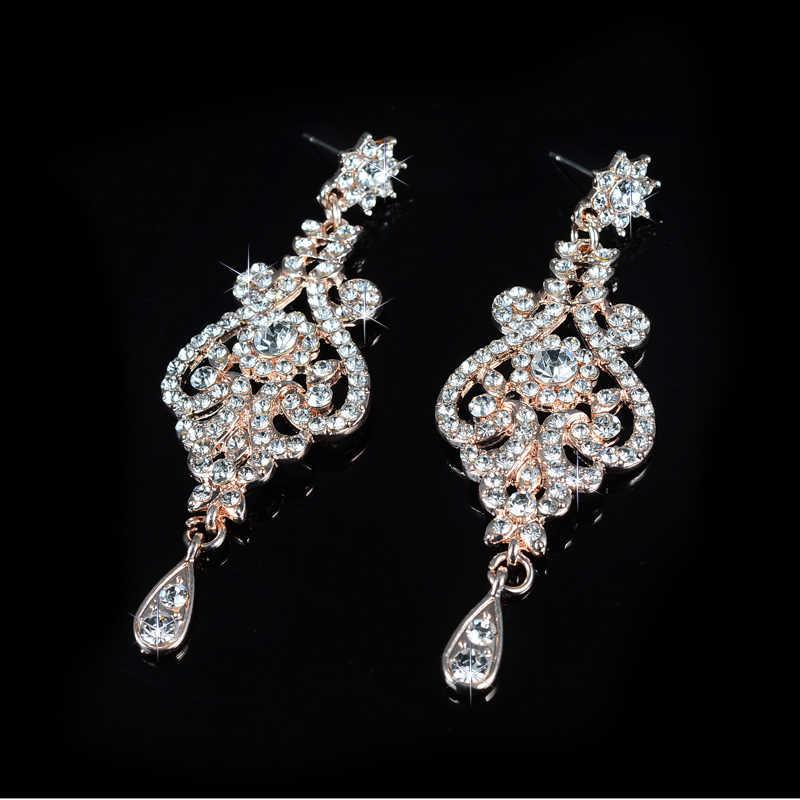 Rose gold farbe braut schmuck sets cz österreichischen kristall halskette ohrring sets luxus schmuck femme D020