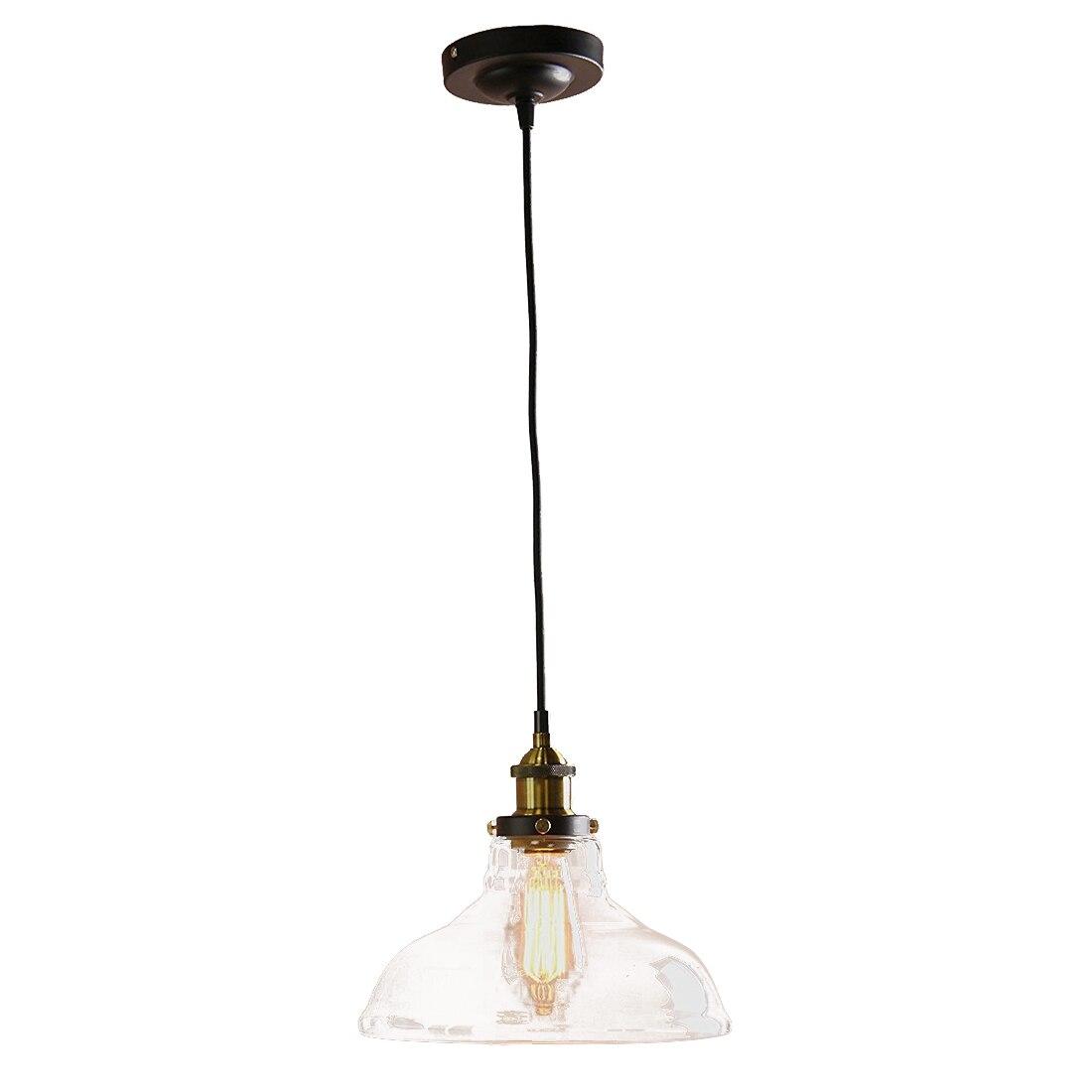 Современный Винтаж Янтарный промышленных 1 Свет Iron Body Стекло Тень Лофт Бар Кухня крышка люстра висит кулон свет лампы