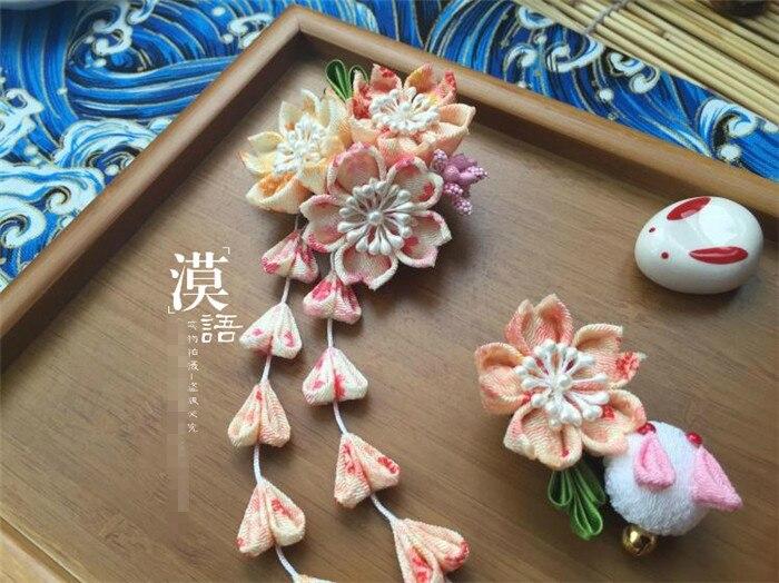 2019 fabriqué à la main en épingle à cheveux ensemble coton tissu pince à cheveux barrettes kimono japonais cosplay accessoires sakura bunny orange