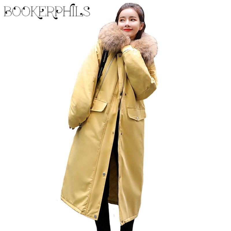 2018 Women Long   Parka   Fake Fur Collar Cotton Padded Big Size Coats Female Tops Winter Jacket Women Clothes Down Jacket M-2XL