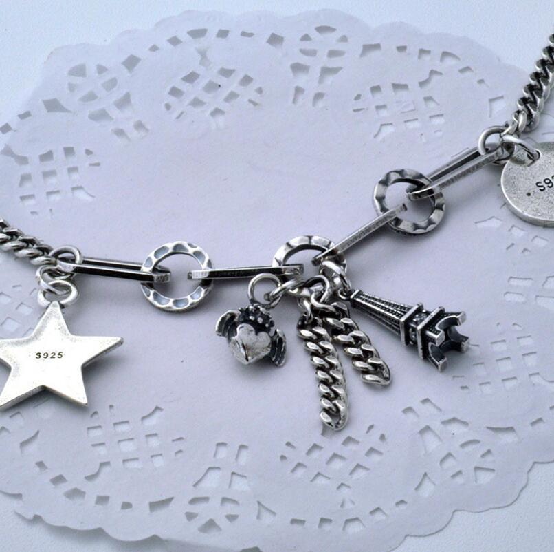 Pur argent S925 argent vintage tour coeur étoile pendentif lien chaîne bracelet 925 bijoux en argent (YRT) - 3