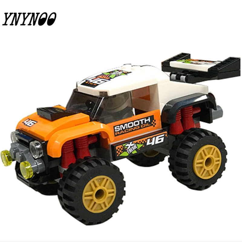 (YNYNOO) 10645 97Pcs City Figures Stunt Truck Model Building Kits Blocks DIY Bricks Toys Vehicles For Children 10646 160pcs city figures fishing boat model building kits blocks diy bricks toys for children gift compatible 60147