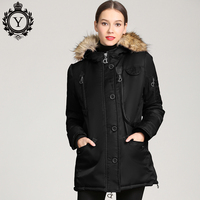 COUTUDI 2019 New Women Winter Jacket Coat Raccoon Fur Women Parkas Multipockets Windproof Thick Warm Women's Winter Hooded Coat