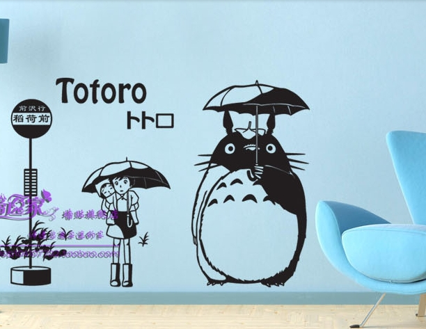 Japanese Cartoon Totoro Chinchilla Vinyl Wall Decal Waiting Bus On Station Anime Wall Sticker Kid's Room Home Decorative Decor