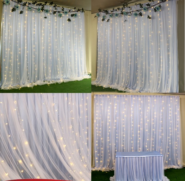 Cute Outdoor Wedding Ideas: 2 Layers Wedding DIY Backdrops Sheer Curtains With Ice