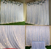 2 layers wedding DIY backdrops sheer curtains With ice silk cloth Lights decoration party stage baby shower birthday decor 3MX3M